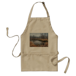 Foggy Morning At A Marsh Adult Apron