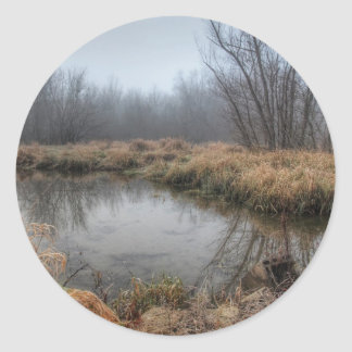 Foggy Morning At A Marsh Classic Round Sticker