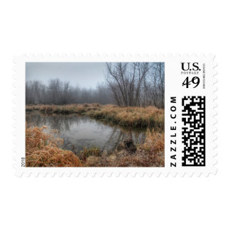 Foggy Morning At A Marsh Postage Stamp