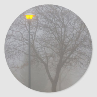 Foggy Morning Classic Round Sticker