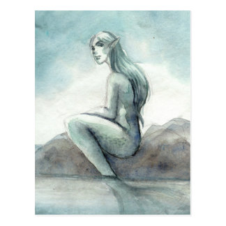 Foggy Morning Mermaid Postcard