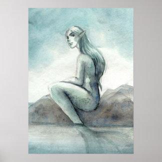 Foggy Morning Mermaid Poster