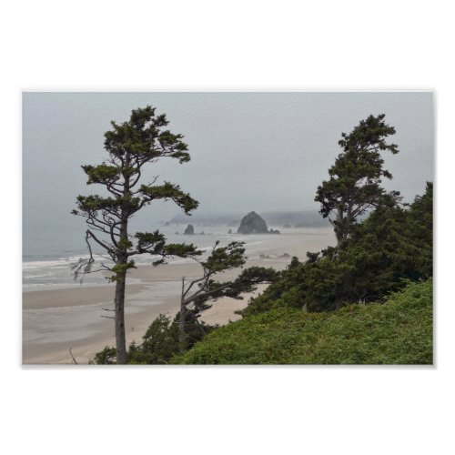Foggy Morning on Cannon Beach, Oregon Poster