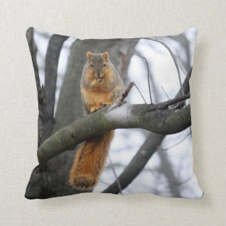 Foggy Morning Squirrel Throw Pillow