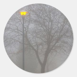 Foggy Morning Classic Round Sticker