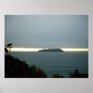 Foggy morning - strip of light on the horizon poster