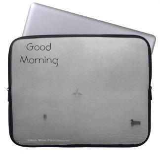 Foggy Morning with ducks Computer Sleeve