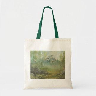 Foggy Mountain Landscape Tote Bag