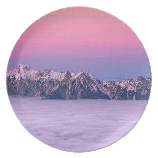Foggy Mountain Peaks Melamine Plate