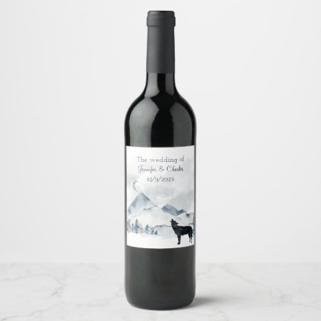 Foggy Mountain Watercolor Wedding  Wine Label