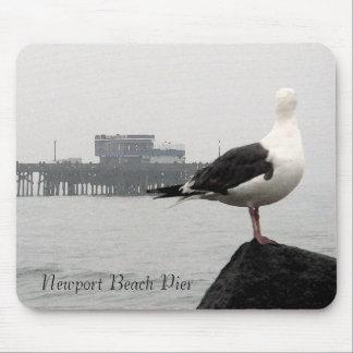 Foggy Newport Pier & Seagull Watercolor Mousepad