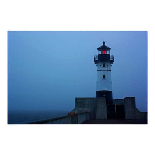Foggy North Pier Lighthouse Poster