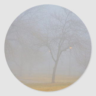 Foggy Park Morning Classic Round Sticker
