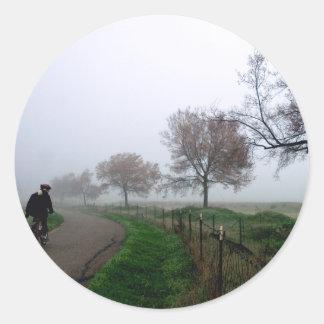 Foggy Rider Round Stickers