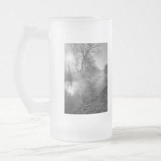 Foggy River Morning Sunrise Frosted Glass Beer Mug