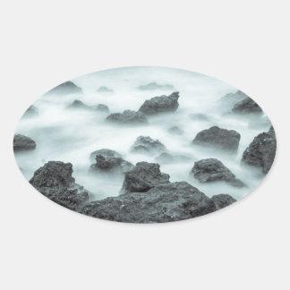 Foggy Rocks Oval Sticker