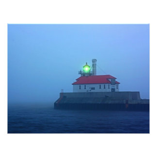 Foggy South Pier Lighthouse Flyer Design
