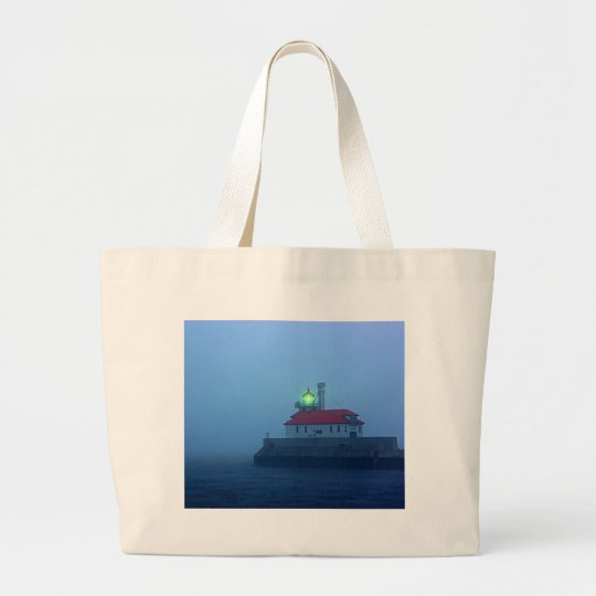 Foggy South Pier Lighthouse Large Tote Bag