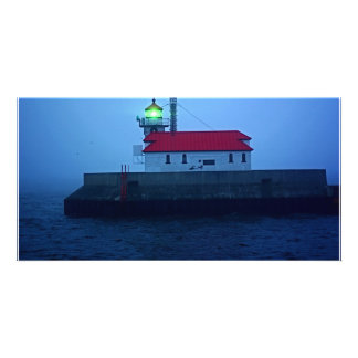 Foggy South Pier Lighthouse Photo Card Template