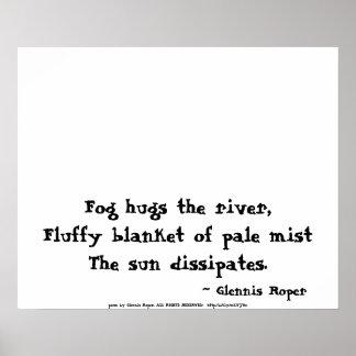foggy sunrise haiku poster