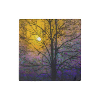 Foggy Sunset Stone Magnet