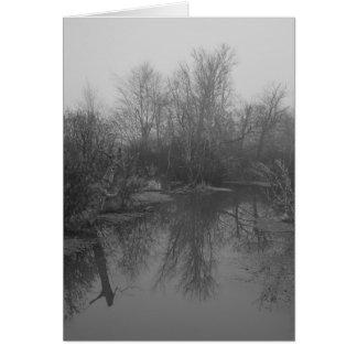 Foggy_Swamp-1-27-2009-b&w2 Tarjeta De Felicitación