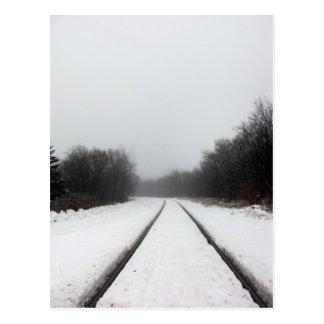 Foggy Train Tracks Postcard