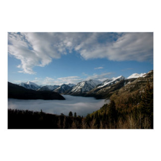 Foggy valley in the Colorado mountains Poster