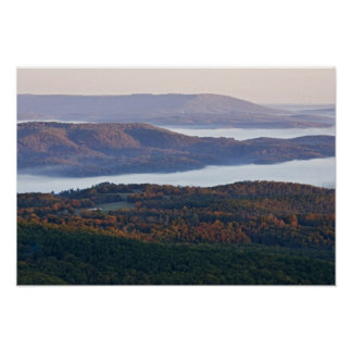 Foggy valleys and fall foliage in Ozark Poster