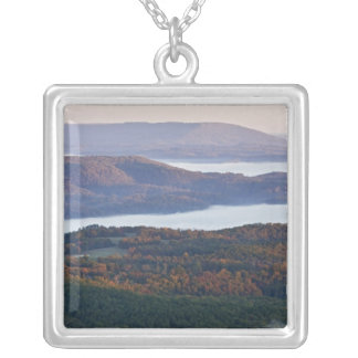 Foggy valleys and fall foliage in Ozark Silver Plated Necklace