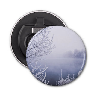 Foggy Winter Day by the River Bottle Opener