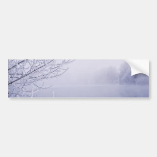 Foggy Winter Day by the River Car Bumper Sticker
