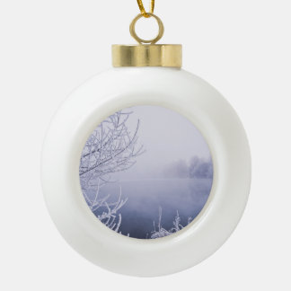 Foggy Winter Day by the River Ceramic Ball Christmas Ornament