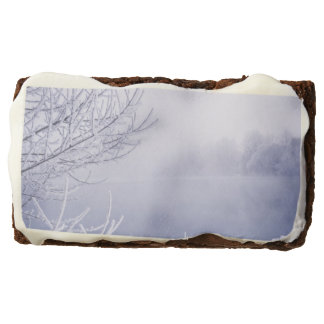 Foggy Winter Day by the River Chocolate Brownie