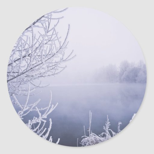 Foggy Winter Day by the River Classic Round Sticker