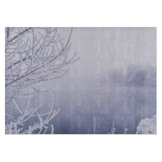 Foggy Winter Day by the River Cutting Board