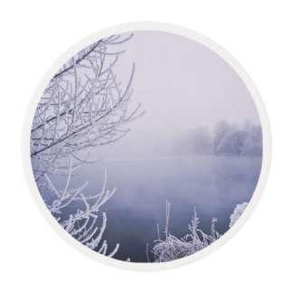 Foggy Winter Day by the River Edible Frosting Rounds
