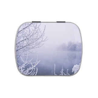Foggy Winter Day by the River Jelly Belly Tin