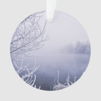 Foggy Winter Day by the River Ornament
