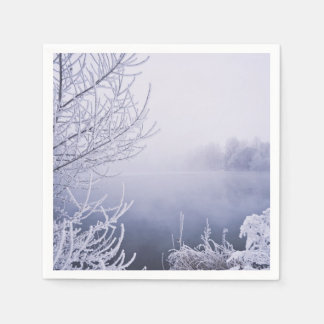 Foggy Winter Day by the River Paper Napkin
