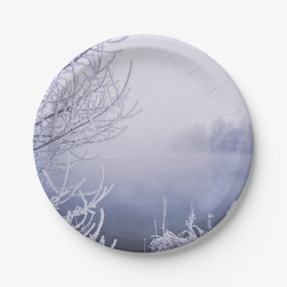 Foggy Winter Day by the River Paper Plate