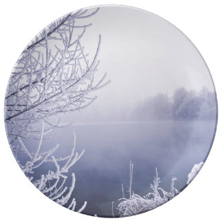 Foggy Winter Day by the River Porcelain Plate
