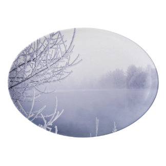 Foggy Winter Day by the River Porcelain Serving Platter