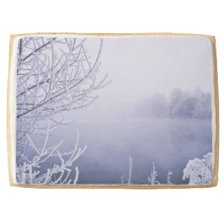 Foggy Winter Day by the River Shortbread Cookie