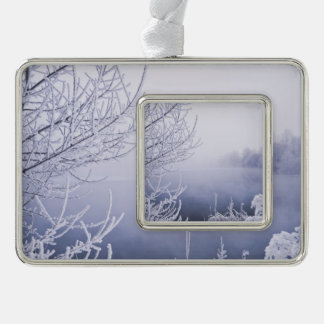 Foggy Winter Day by the River Silver Plated Framed Ornament