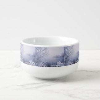 Foggy Winter Day by the River Soup Mug