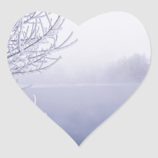 Foggy Winter Day by the River Heart Sticker
