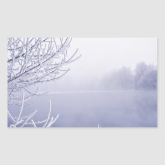 Foggy Winter Day by the River Rectangular Sticker