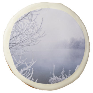 Foggy Winter Day by the River Sugar Cookie