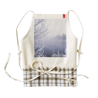 Foggy Winter Day by the River Zazzle HEART Apron